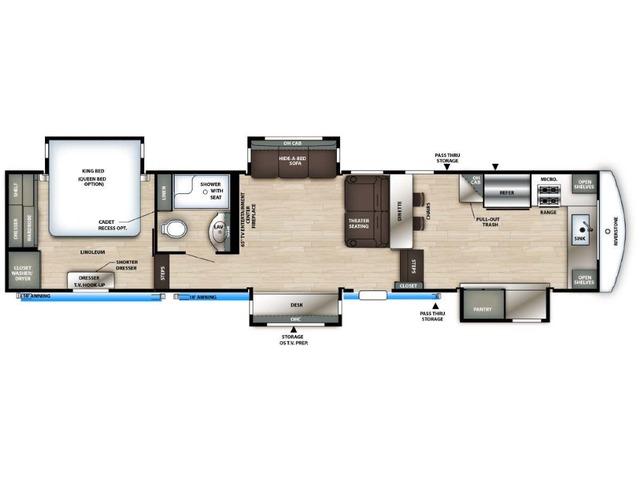 Riverstone Reserve Fifth Wheel Model 3950FWK by Forest River Floorplan
