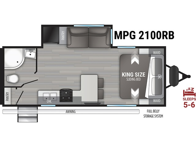 MPG Travel Trailer Model 2100RB by Cruiser RV Floorplan