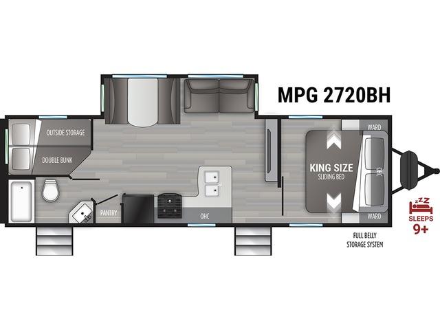 MPG Travel Trailer Model 2720BH by Cruiser RV Floorplan