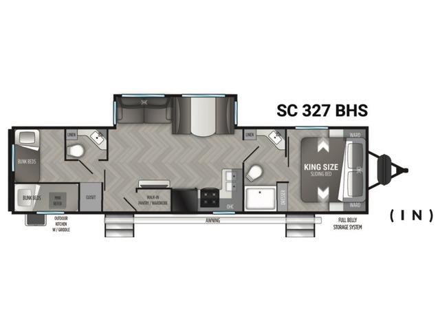 Shadow Cruiser Travel Trailer Model 327BHS by Cruiser RV Floorplan