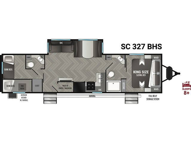 Shadow Cruiser Travel Trailer Model 327BHS by Cruiser RV Floorplan