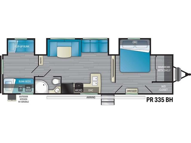 Prowler Travel Trailer Model 335BH by Heartland Floorplan