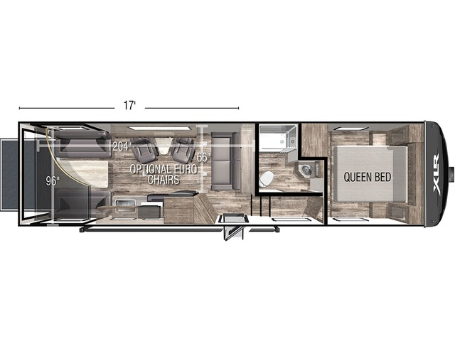 XLR Micro Boost Toy Hauler (Fifth Wheel) Model 301LRLE by Forest River Floorplan