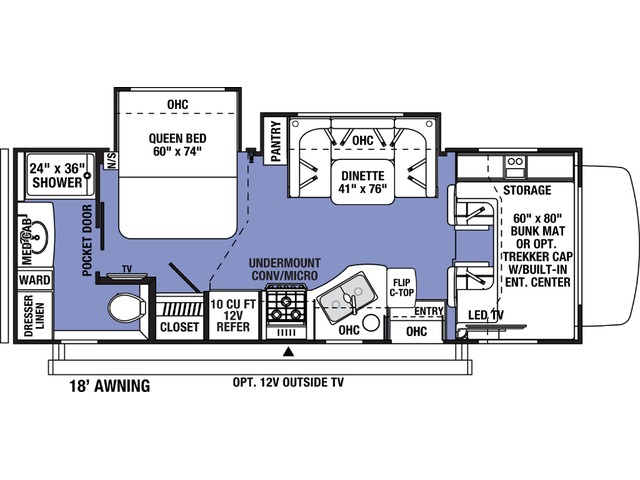 Sunseeker Classic Class C Motorhome Model 2440DS by Forest River Floorplan