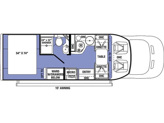 Sunseeker TS Class C Motorhome Model TS2380 RWD by Forest River Floorplan