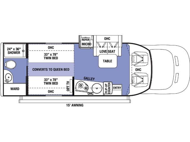 Sunseeker TS Class C Motorhome Model TS2370 by Forest River Floorplan