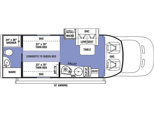 Sunseeker TS Class C Motorhome Model TS2370 RWD by Forest River Floorplan