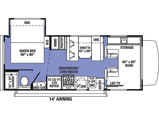Sunseeker LE Class C Motorhome Model 2250SLE by Forest River Floorplan