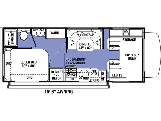 Sunseeker LE Class C Motorhome Model 2350LE by Forest River Floorplan
