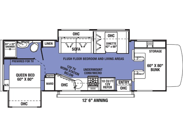 Sunseeker LE Class C Motorhome Model 2550DSLE by Forest River Floorplan