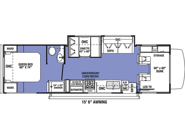 Sunseeker LE Class C Motorhome Model 2850SLE by Forest River Floorplan