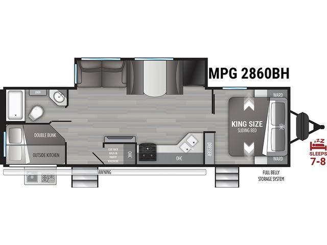 MPG Travel Trailer Model 2860BH by Cruiser RV Floorplan