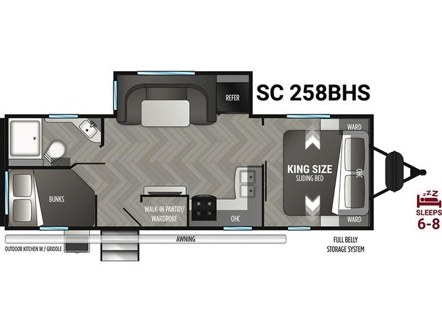 Shadow Cruiser Travel Trailer Model 258BHS by Cruiser RV Floorplan