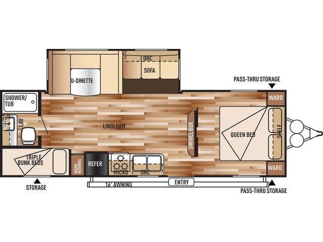 Salem Travel Trailer Model 26TBUD by Forest River Floorplan