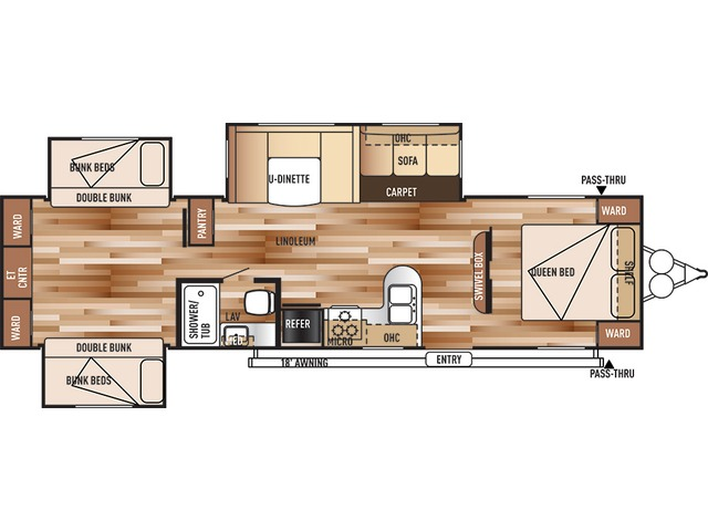Salem Travel Trailer Model 31QBTS by Forest River Floorplan