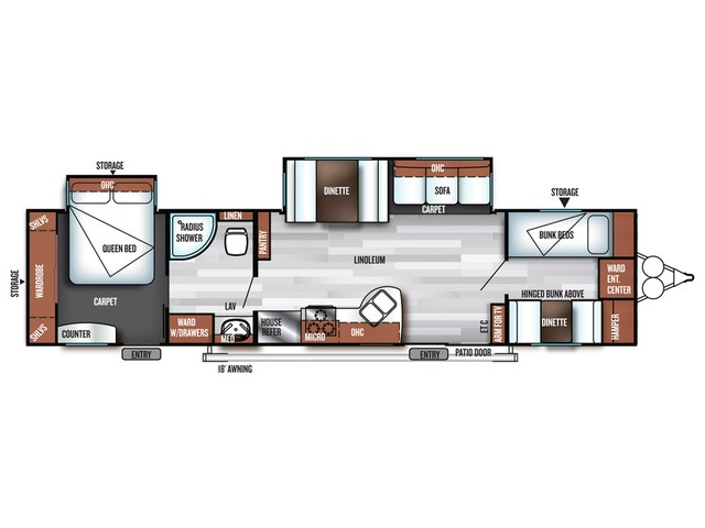 Salem Travel Trailer Model 36BHBS by Forest River Floorplan