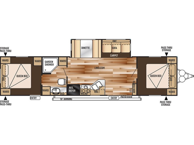 Salem Travel Trailer Model 37BHSS2Q by Forest River Floorplan
