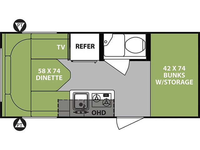 R-Pod Travel Trailer Model 172 by Forest River Floorplan