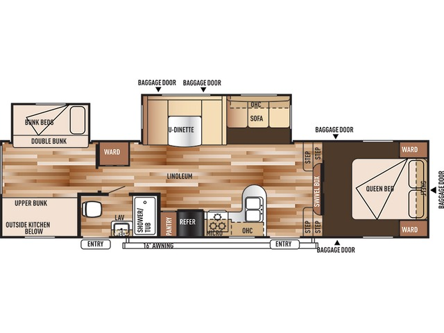 Salem Fifth Wheel Model 33BHOK by Forest River Floorplan