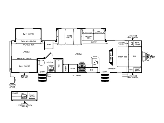 Hemisphere Travel Trailer Model 312QBUD by Forest River Floorplan