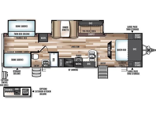 Hemisphere Travel Trailer Model 312QBUD by Forest River Floorplan