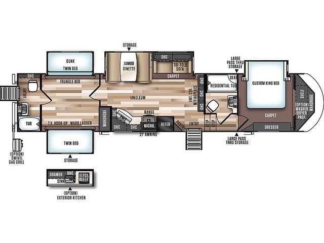 Hemisphere GLX Fifth Wheel Model 356QB by Forest River Floorplan