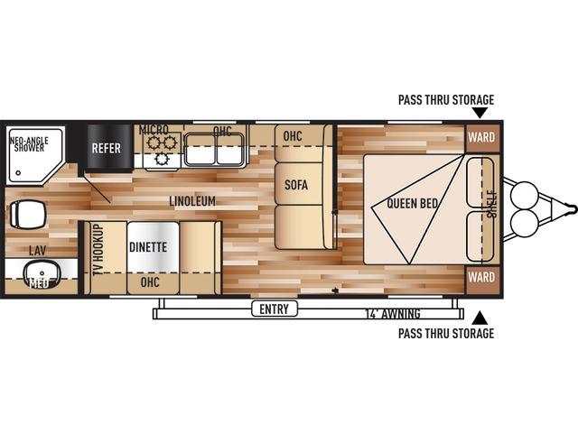 Cruise Lite Travel Trailer Model 241QB by Forest River Floorplan