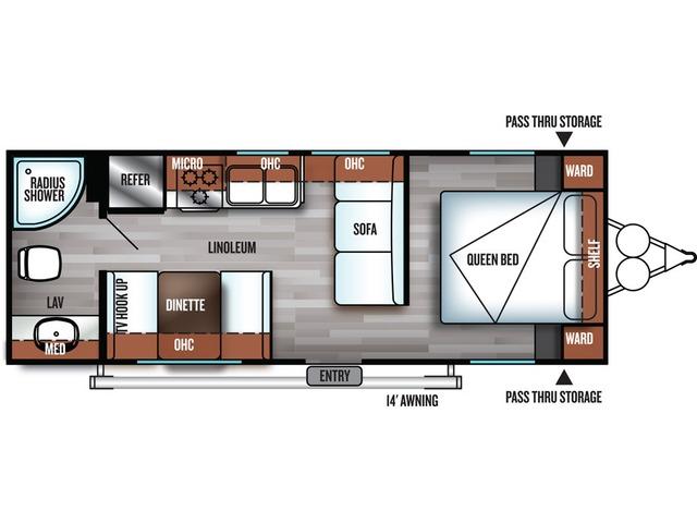 Cruise Lite Travel Trailer Model 241QB by Forest River Floorplan