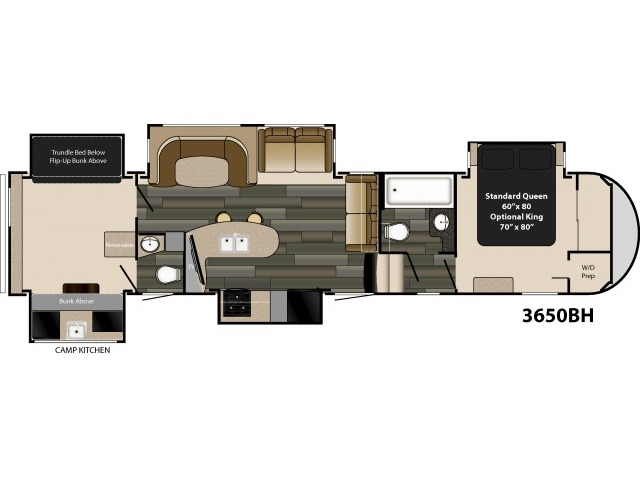 Gateway Fifth Wheel Model 3650BH by Heartland Floorplan